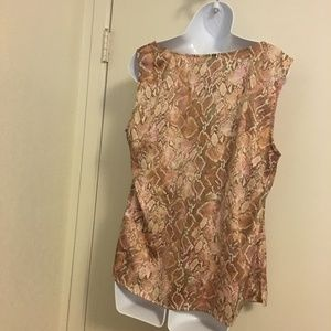 Cato Tops - Chico's Pink/Tan Python Pattern Top Size 2 or Med